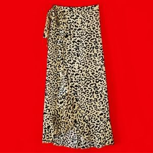 SILKFRED Leopard Midi Wrap Skirt S
